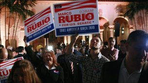 """Supporters of Republican nominee for Florida US. Senator Marco Rubio wait for him to arrive for his """"Reclaim America Victory Celebration"""""""