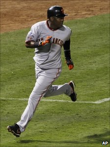 Edgar Renteria playing for the San Francisco Giants baseball team