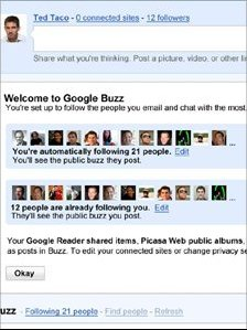 Google Buzz homepage