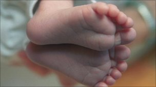 Close-up of baby's feet