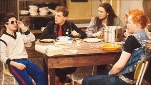 Scene from student comedy The Young Ones