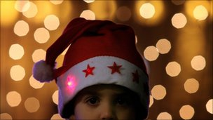 Christmas hat and lights (generic)