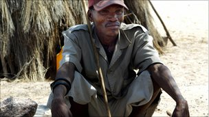 A Bushman in 2005 in the Botswana Bushmen resettlement town of New Xade, a few kilometres away from the Central Kalahari Grand Reserve