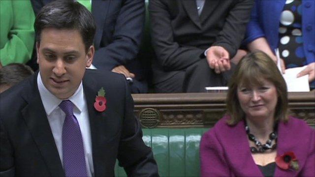 Ed Miliband (left) Harriet Harman (right)