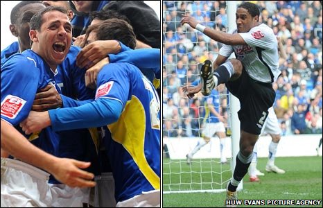 Michael Chopra and Ashley Williams celebrate derby goals