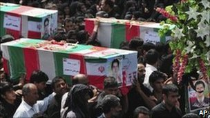 Mourners at funerals for the Zahedan bombing in July