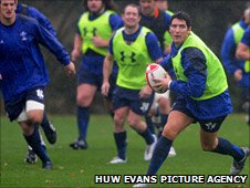 James Hook in Wales training ahead of the Australia Test