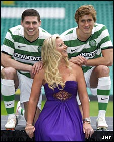 Celtic players Gary Hooper and Thomas Rogne with businesswoman Michelle Mone