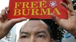 Protester holding Free Burma sign