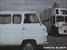 John Lennon in VW Camper Van in Weston-super-Mare in 1963