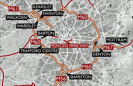 Map showing Greater Manchester's top ten most congested roads