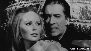Christopher Lee and Veronica Carlson in Dracula Has Risen From The Grave, a Hammer film directed by Freddie Francis.