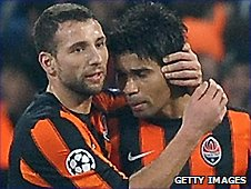 Eduardo (right) tempered his joy after getting the winner for Shakhtar