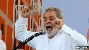 "Brazil""s President Luiz Inacio Lula da Silva speaks during the inauguration ceremony of ""My House, My Life"" social program at Manguinhos slum in Rio de Janeiro October 25, 2010."