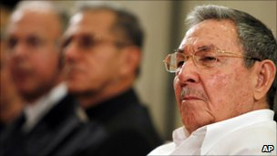 Raul Castro attends the inauguration of the new seminary