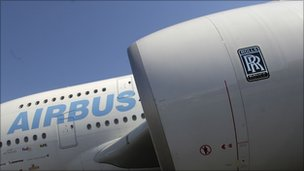 A Rolls-Royce engine on an Airbus A380