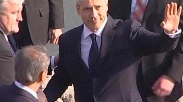 President Boris Tadic arriving at Vukovar