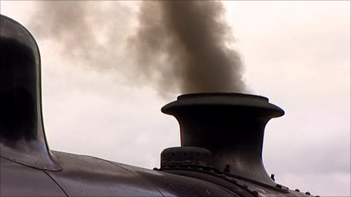 Steam comes out of an engine at Ruddington's Nottingham Transport Heritage Museum