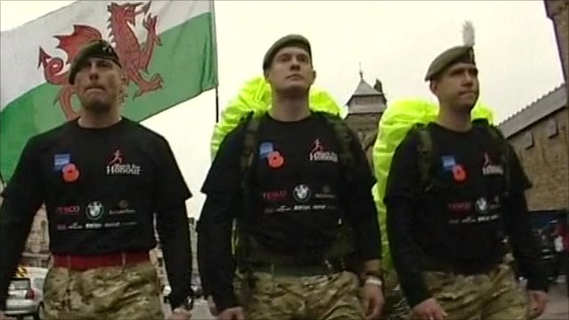 Members of Armed Forces marching