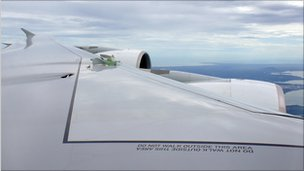 Qantas A380 plane in flight with hole in its wing, 4 November 2010