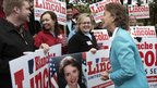 Blanche Lincoln greets supporters outside of her Little Rock polling place.