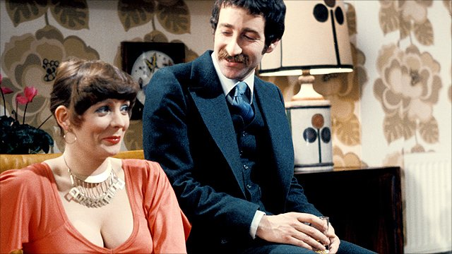 Alison Steadman as Beverly and Tim Stern as her husband Lawrence in Abigail's Party