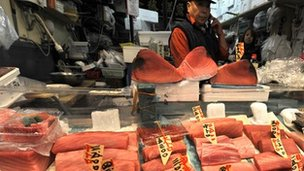 Tuna fillets are displayed at a fish shop in Tokyo's Tsukiji fish market on March 19, 2010.