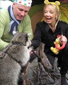 Mike Dilger and Alex Lovell with a wallaby at Bristol Zoo