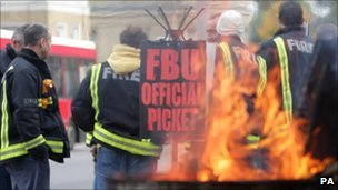 A picket line during Monday's fire strike