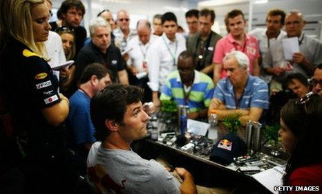 Red Bull's Mark Webber faces the press in Sao Paulo