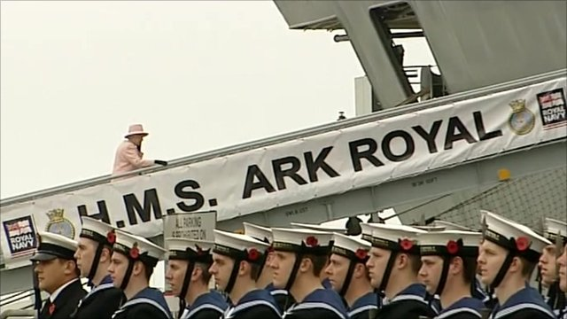 The Queen boards HMS Ark Royal