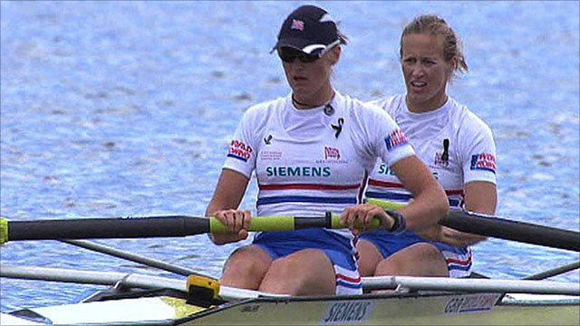 GB's women's pair on their way to winning a silver medal