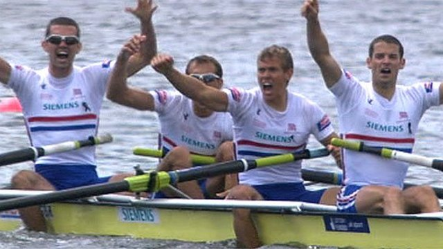 GB's men's lightweight four celebrate winning gold