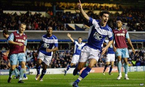 Liam Ridgewell celebrates scoring Birmingham's equaliser