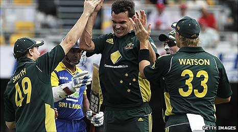 Cl;int McKay celebrates a wicket against Sri Lanka