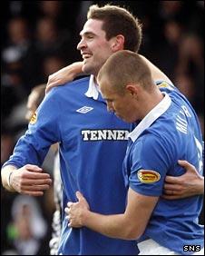 Kyle Lafferty and Kenny Miller celebrate