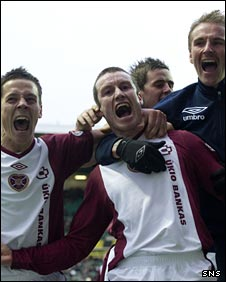 Stephen Elliott (centre) scored Hearts' second goal