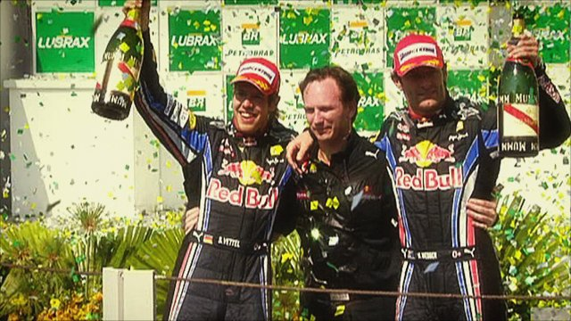Red Bull's Sebastian Vettel, Christian Horner and Mark Webber