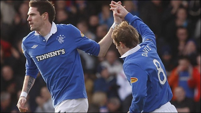 Kyle Lafferty celebrates with team-mate Steven Davis