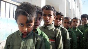 Schoolchildren at Abu Bakr school just outside Sanaa