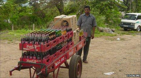 A Coca-Cola distributor in Zambia