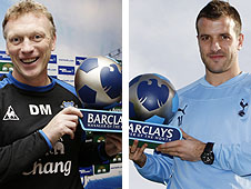Everton boss David Moyes and Tottenham manager Rafael van der Vaart
