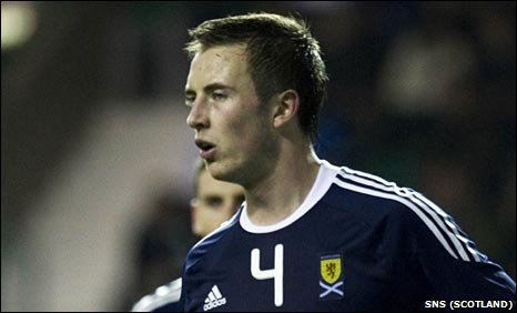 Danny Wilson in action for Scotland Under-21s