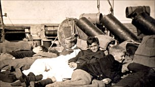 Evacuees on a ferry from Guernsey