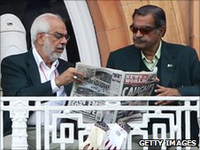 Pakistan selector Shafqat Rana and team manager Yawar Saeed read the News of the World's allegations