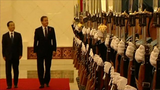David Cameron with Chinese Premier Wen Jiabao