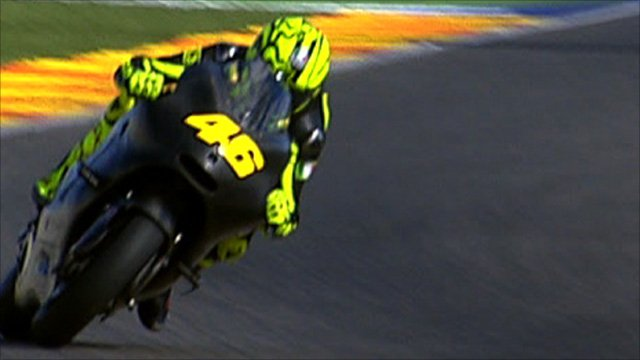 Valentino riding his Ducati for the first time