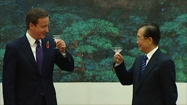 David Cameron and Wen Jiabao in China