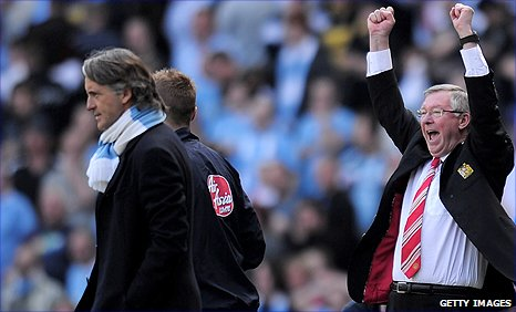 Man Utd manager Sir Alex Ferguson (right) and Man City counterpart Roberto Mancini