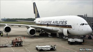 Singapore Airlines A380 at Changi airport (file picture)